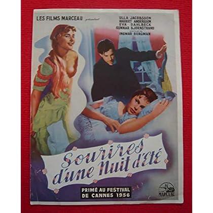 Dossier de presse de Sourires d'une nuit d'été (1956) - 24x31 cm, 4 p – Film de Ingmar Bergman avec Ulla Jacobsson, Harriet Andersson – Photos N&B - résumé du scénario