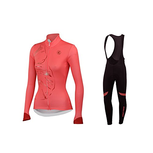 Uglyfrog Radtrikot Fahrradbekleidung Set Langarm Winddicht Damen Winter Thermische Fleece mit 3D Polster Hosen