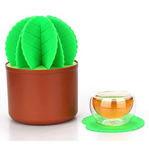 SinceY Cactus Shaped Kreative Silikon Untersetzer Tee Kaffee Trinken Tasse Mat Coaster Chic Silikon Geschirr, Kaktus Bonsai Untersetzer Set