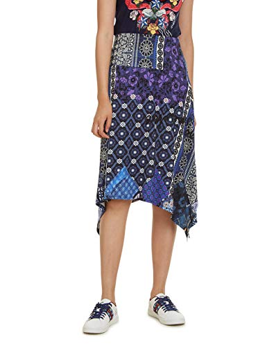 Desigual Skirt Knee Katherine Woman Blue Falda