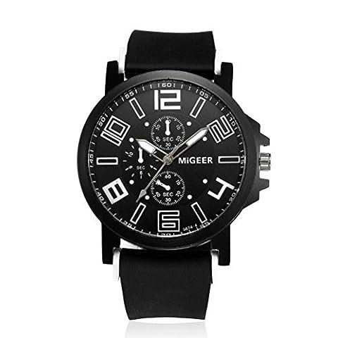 Malloom Montres Bracelet en silicone pour hommes Sport Horloge analogique au poignet Cool Quartz Heights (Noir)