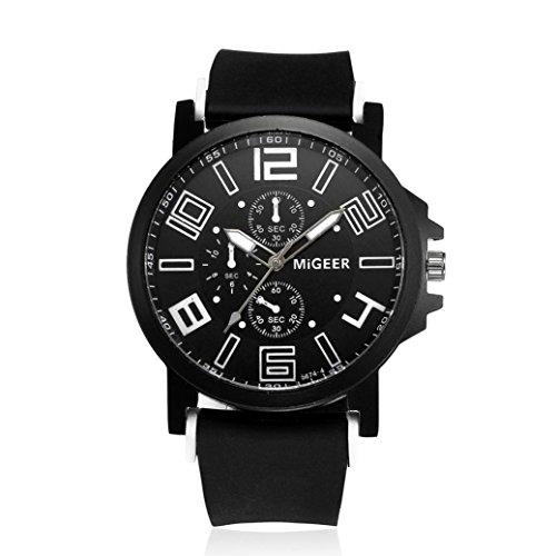 Malloom Montres Bracelet en silicone pour hommes Sport analogique au poignet Cool Quartz Heights (Noir)