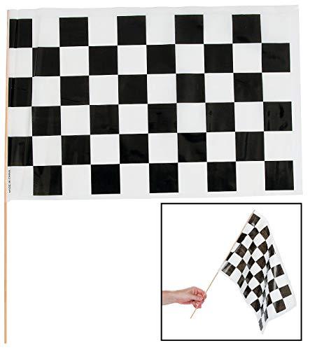 Schwarz & Weiß Kariert Racing Flaggen (12Pack) 40,6x 27,9x 53,3cm-Party Dekorationen & Flaggen & Wimpelkette