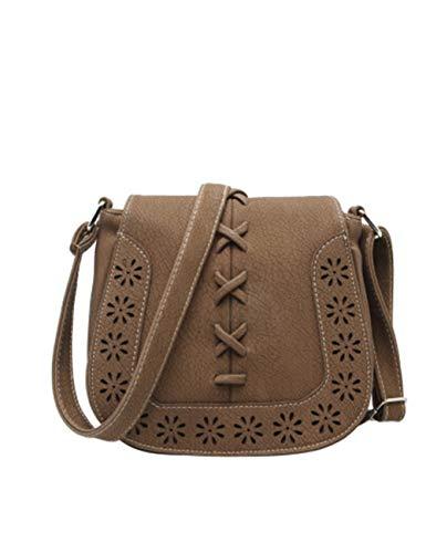 ASDQ Umhängetasche Satteltasche Vintage Schultertasche Damen Aushöhlen Für Damen Messenger Einzelne Breite Gurt Taschen