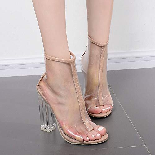 EGS-Shoes Fischmaul PVC transparent kristall dick mit kurzen Frauen Stiefel Stiefeletten Frauen mit hohen absätzen,Grille Schuhe (Farbe : Aprikosen, Size : 36) (Stiefel Halloween Go Go)
