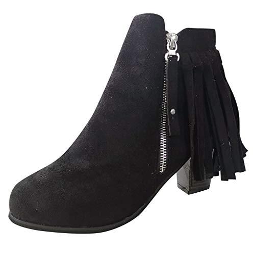 Tohole Damen Chelsea Boots Ankle Leder Blockabsatz Kurzschaft Stiefel Absatz Schuhe Winter Elegant Vintage Quaste mit Reißverschluss nackte Stiefel(schwarz,36 EU) -