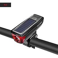 Nologo IPX4 - Faros delanteros impermeables para bicicleta (2000 mAh, USB, luz solar, 120 dB, interruptor inteligente de múltiples modos), color Rojo, tamaño A
