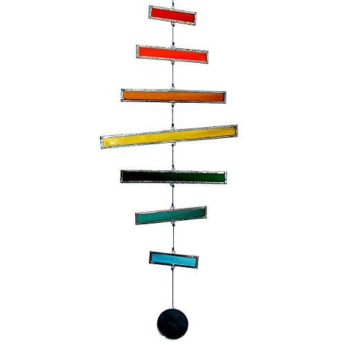 HAB & GUT -HA011- Windspiel BUNT, Glasstreifen, 43 cm, Mobile für Dekoration Terrasse und Balkon