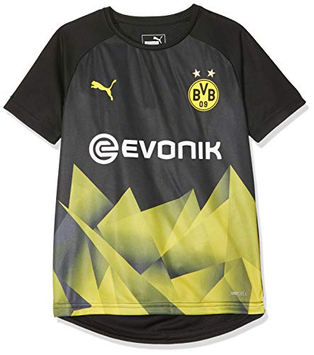 PUMA Kinder BVB Int'l Stadium Jersey Jr with Evonik Logo Trikot, Black/Cyber Yellow, 116