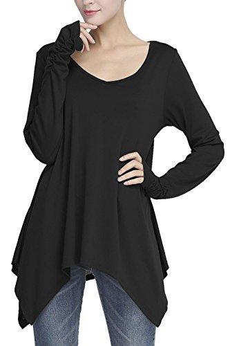 Frauen Elegant Einen Tiefen V - Hals Lange Ärmel Mit Unregelmäßigen Tunika T Hemdblusen Tops Black