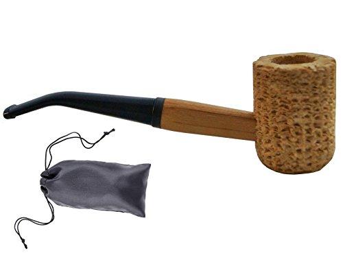 Kostüm Cob Mais - GERMANUS Corncob Pfeife - Regular, Bent gebogen - Tabakpfeife inkl. Pfeifenbeutel