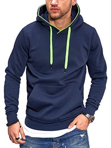 JACK & JONES Sudadera con Capucha Suéter Manga Larga para Hombre Casual Streetwear XL, Navy Blazer/Green...