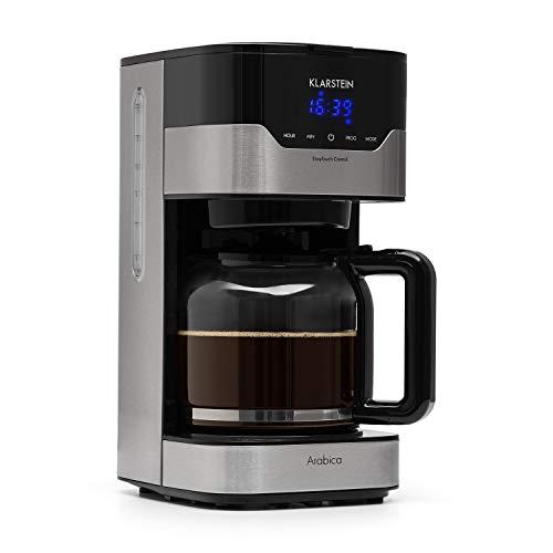 Klarstein Kaffeemaschine Arabica mit Filter - Filter-Kaffeemaschine, 900 Watt, EasyTouch Control, 1.5 L, bis 15 Tassen, inkl. Permanentfilter, silber-schwarz