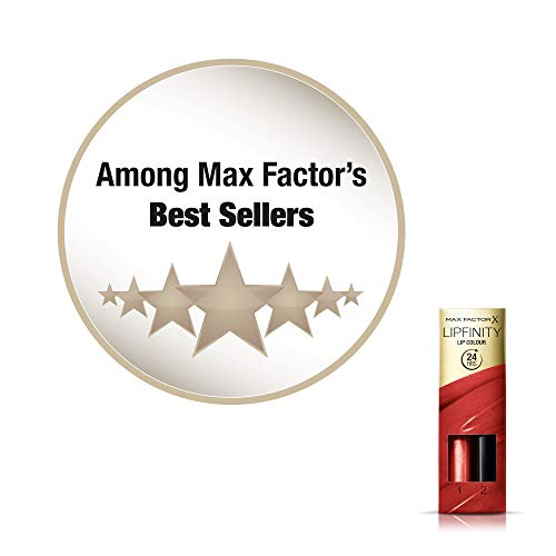 Max Factor Lipfinity Lip Colour Rossetto Lunga Durata e Gloss Idratante, con Applicazione Bifase, 125 So Glamorous