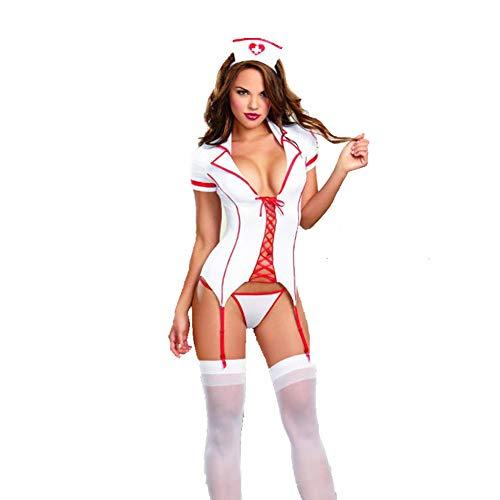 CRYING Sexy Krankenschwester Kostüm Damen Bodysuit Sexy Unterwäsche Unten Offen Babydoll für Kostümparty & - Naughty Krankenschwester Kostüm Übergröße
