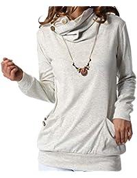812cfe56a005fd kefirlily Donna Felpa da Taschino con Bottoni in Cotone con Camicia Felpa