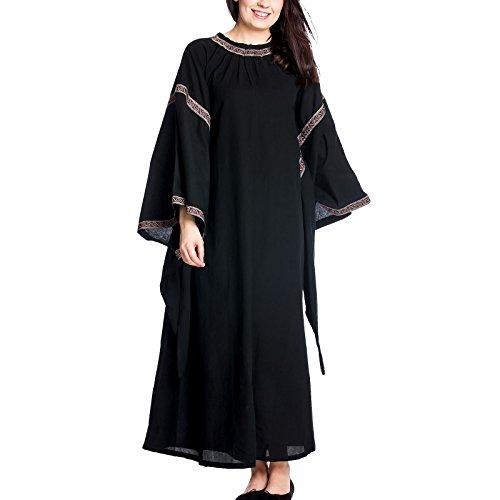 Abito medioevo donna con maniche a campana cotone nero - xxxl