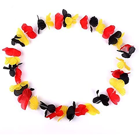 S/O® - Pack de 30 collares hawaianos de flores, colores de la bandera alemana