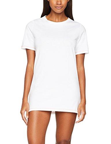 Iris & Lilly Damen Nachthemd Basic, Weiß (White), Large (Nachthemd Nachtwäsche)