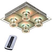 RGB LED Decken Lampe Chrom Spiegel Fernbedienung Ess Zimmer Dimmer Leuchte Glas