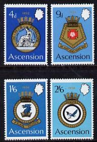 Ascension 1970 Royal Naval Crests - 2nd series perf set of 4 u/m, SG 130-3 SHIPS JandRStamps -