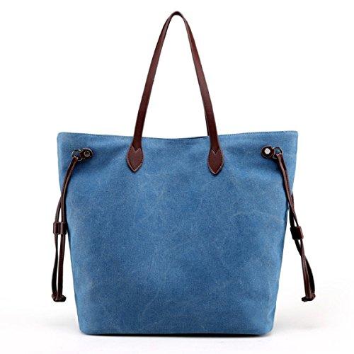 PDFGO Segeltuch-Beutel-beiläufige Große Kapazitäts-Einkaufstasche-feste Farben-Tuch-Beutel-Dame-Handtaschen-Schulter-Beutel-wilde Handtasche Blue