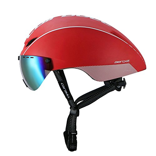 Cairbull Fahrrad Helm Erwachsene Ultralight TT Road Fahrrad Sicherheit Helm mit abnehmbarem Schild Visier (Rot, Erwachsene(55-61cm))