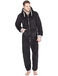 Onezee Mens Snuggle Fleece Hooded Zipper One Piece Jumpsuit Pyjamas with Pockets