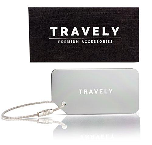 Travely - Premium Kofferanhänger - inklusive Namensschild - silber - 2er Set