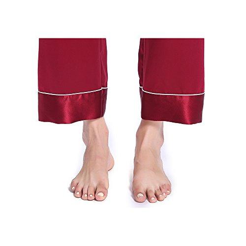 LILYSILK Pantalon Fluide en Soie 22 Momme avec Revers Liseré Bas de Pyjama Rouge Vineux