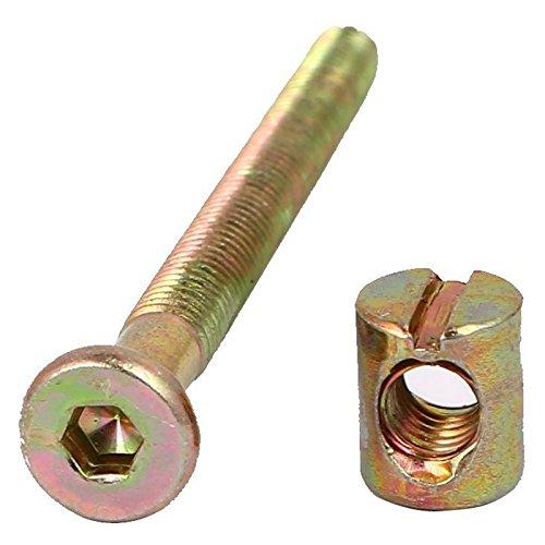 TOOGOO 10 Set M6 x 70mm Inbusschluessel mit Innensechskantschraube Moebelschraube mit M6 x 12mm Zylindermutter