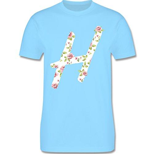 Anfangsbuchstaben - H Rosen - Herren Premium T-Shirt Hellblau
