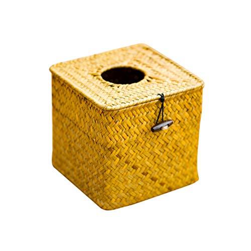 TOPBATHY Kosmetiktücher-Box-Halter Tissue-Box-Spender Bambus Serviette Abdeckung für Auto (Hauptfarbe) Rattan-halter