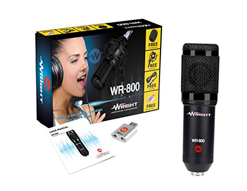 Wright WR 800 Condenser Microphone with Free USB Sound Card (Black)