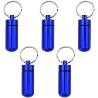 HEALIFTY Wasserdichter Aluminiumlegierungs-Pillen-Kasten mit Keychain (blau) 5pcs preisvergleich bei billige-tabletten.eu