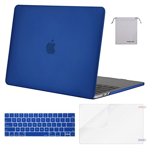 MOSISO MacBook Pro 15 Case 2018 2017 2016 Release A1990/A1707 Touch Bar Models, Plastic Hard Shell & Keyboard Cover & Screen Protector & Storage Bag Compatible Newest Mac Pro 15 Inch, Royal Blue Hard Case Cover Screen