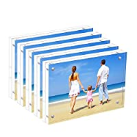 HIIMIEI 5 Pack Acrylic Picture Frame 5x7 Perspex Magnetic Picture Frames,13x18cm Acrylic Photo Block,Double Sided Clear Acrylic Photograph Frames With Gift Box Package