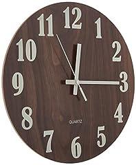 Idea Regalo - 30 cm Orologio da Parete Rotondo in Legno Decorazione Shabby Chic-Orologio Silenzioso a Quarzo per Salotto, Cucina, Camera da Letto, Bagno