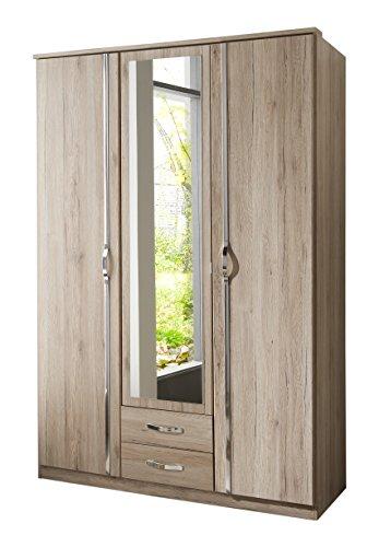 Wimex 064484 Kleiderschrank, 3-türig mit zwei Schubkästen und einer Spiegeltür, Sa...