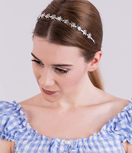 SIX Haarschmuck: Funkelnder Haarreif verziert mit Edelweiß-Blüten & Perlen, stylisches Accessoire für JGA/Hochzeit/Oktoberfest, silber (315-493)