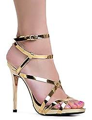 Mujer correa de tobillo tacón alto sandalias | brillante bombas de tacón Dress, boda, fiesta elegante, cómodo y tiras