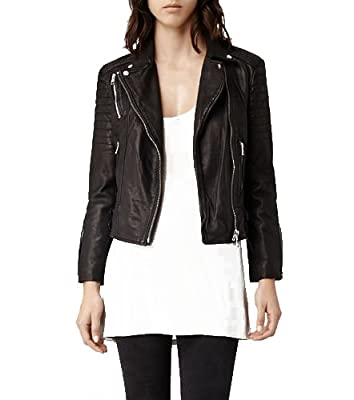 Royal Outfit Genuine Lambskin Real Leather Slim Fit Biker Jacket of Women's - Black