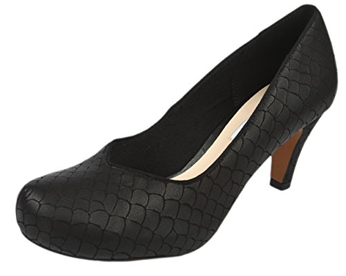 Clarks Chorus Voice Damen Pumps Schwarz (Blk Interest Lea)