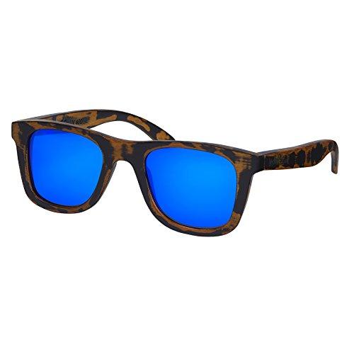 Nebelkind Unisex Bamboobastic Holz Sonnenbrille mit Bambus Etui Used Look Blau One Size