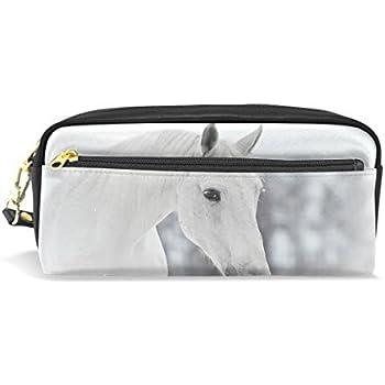 Bennigiry Noir fris/é Horse Gallop Fermeture /Éclair rectangulaire Grand Tissu Trousse/ //école Maquillage
