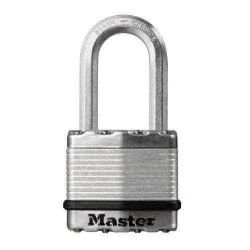 Master Lock Hochsicherheits-Vorhängeschloss Excell mit langem Bügel und Schlüssel für Kellerräume aus laminiertem Stahl, 45 mm.