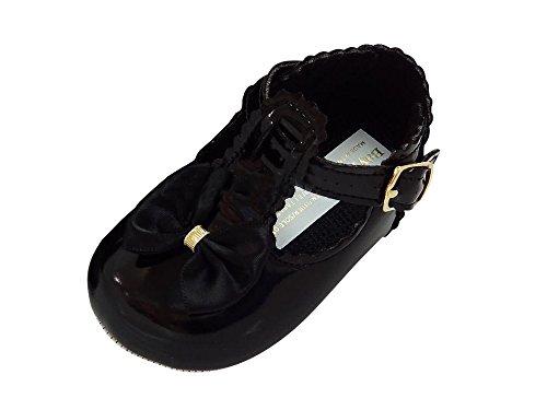 MGT-Shop Taufschuhe Baby Schuhe Leder Lackleder Sandalen Taufe Hochzeit Mädchen schwarz schwarz