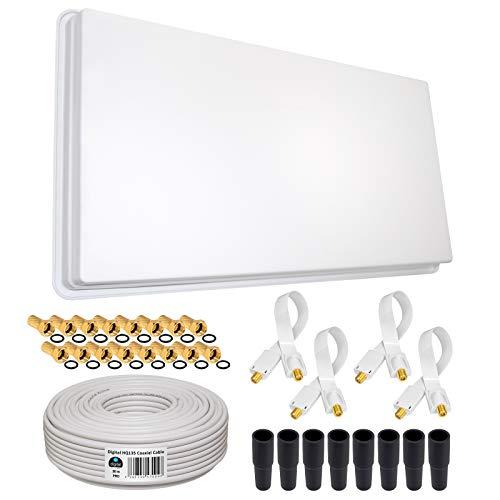 HB-DIGITAL SET: Megasat Hochleistungs-Sat-Flachantenne ✨ H30D4 QFA 60-QUAD 4 Teilnehmer Direkt ➕ Fensterhalterung ➕ 30m HQ-135 SAT-Kabel ➕ 4x SAT Fensterdurchführung GOLD ➕ 16x F-Stecker vergoldet ➕ 8x Gummitüllen ■ FULL HD TV 3D 4K ■