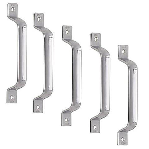 5 Stück - GedoTec® Schiebe-Torgriff Türgriff für Schiebetüren & Tore | Stahl verzinkt | Schiebetürgriff mit 2 Anschraublöchern | Länge: 205 mm | Markenqualität für Ihren Wohnbereich