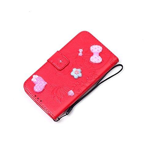 iPhone 7 Coque ( Gris ), Cuir Etui Rabat Style Portefeuille Case Avec Carte Slots pour Apple iPhone 7 4.7 inch Avec 3D Bling Cristal Strass Rose Love-Hearts Bowknot rouge